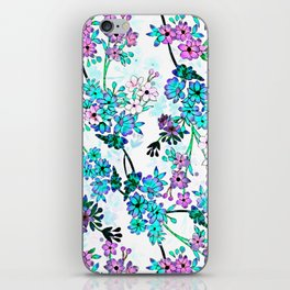 Turquoise Lavender Floral iPhone Skin