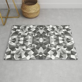 Abstract Colide Black and White Rug