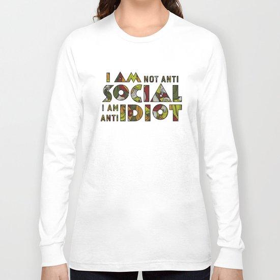 Social Sarcastic Typography Design Long Sleeve T-shirt