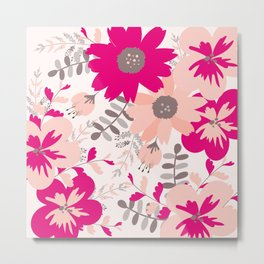 Big Flowers in Hot Pink and Accent Gray Metal Print