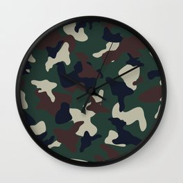 Green Brown woodland camo camouflage pattern Wall Clock