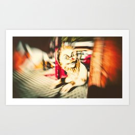 FUNFAIR - LION (Carousel Blur Retro) Art Print