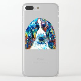 Colorful English Springer Spaniel Dog by Sharon Cummings Clear iPhone Case