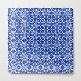Sapphire Blue Floral Pattern Metal Print