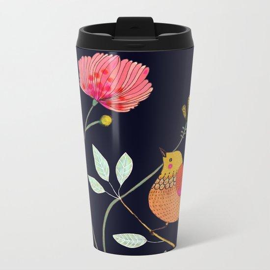 la vie est belle (navy) Metal Travel Mug