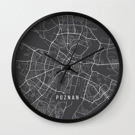 Poznan Map, Poland - Gray Wall Clock