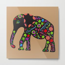 Elephant with letters and abstract Metal Print