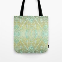 bedding Tote Bags featuring Mint & Gold Effect Diamond Doodle Pattern by micklyn