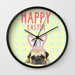 Happy Easter Pug Wall Clock