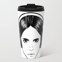 Illustration & recreate portrait of Princess Leia from starwars in black and white Travel Mug