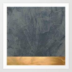 Slate Gray Stucco w Shiny Copper Metallic Trim - Faux Finishes - Rustic Glam Art Print