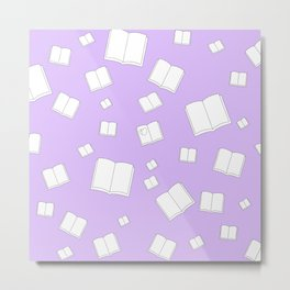 Lilac Flying Books Pattern Metal Print