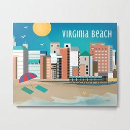 Virginia Beach, Virginia - Skyline Illustration by Loose Petals Metal Print