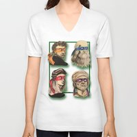 renaissance V-neck T-shirts featuring Renaissance Mutant Ninja Artists by Rachel M. Loose