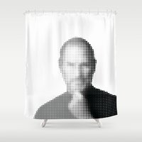 steve jobs Shower Curtains featuring Jobs Abstract Portrait by Andy@Applewerk