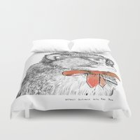 bow Duvet Covers featuring red bow by Mary Szulc