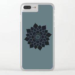 Mandala flower, dark grey geometrical floral pattern Clear iPhone Case
