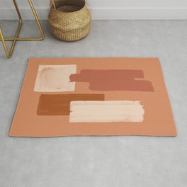 Burnt Orange Art, Terracotta Abstract Shapes Rug