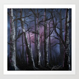 """into the woods"" a night forest landscape in oil Art Print"