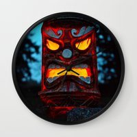 returns Wall Clocks featuring Tiki returns by Vorona Photography