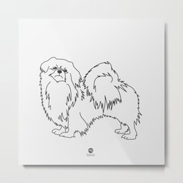 Beautiful Tibetan Spaniel Showdog Minimalist Outline Artwork Metal Print