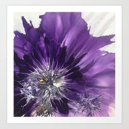Purple flower in the rain Art Print