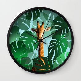 Giraffe in jungle with monstera leaves #leaves Wall Clock