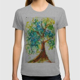 Gold Heart Tree Watercolor by CheyAnne Sexton T-shirt