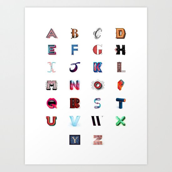 Illustrated Letters - Set One Art Print