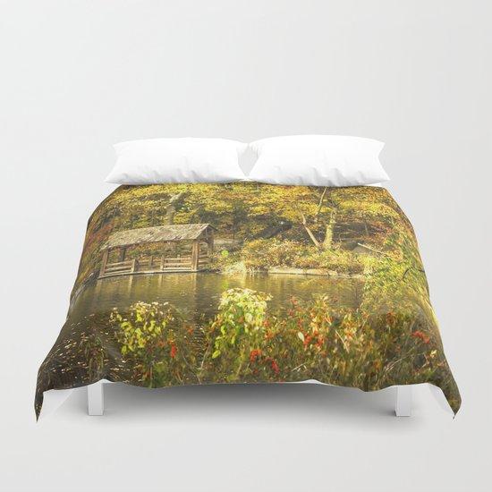 Autumn Lakeside Retreat Duvet Cover