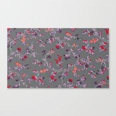 floral vines - dark grey and lilacs Canvas Print