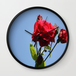 Red Roses with Blue Sky Background Wall Clock