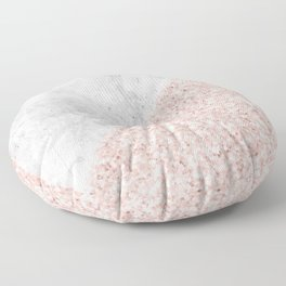Rose Gold Glitter White Gray Marble Concrete Luxury III Floor Pillow