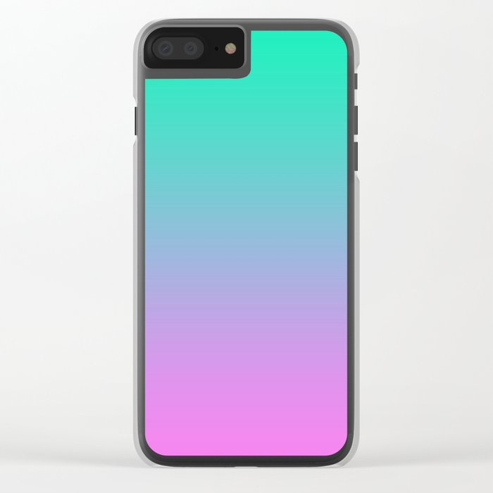 Pink turquoise , blue Ombre Clear iPhone Case