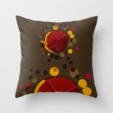 Circular Brown Abstract Dots Texture Throw Pillow