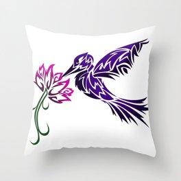 Hummingbird W/ Flower Throw Pillow