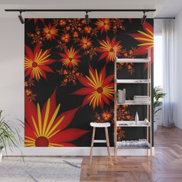 Flower Power Red, Yellow, Black Backgound Wall Mural