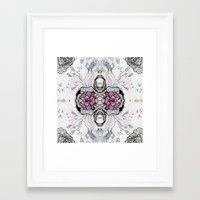 duvet cover Framed Art Prints featuring Flower Duvet Cover by Tintedfaint