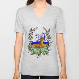 Doe And Fawn In Wildflowers Unisex V-Neck
