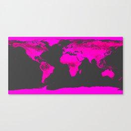 worLD MAP Fuchsia Pink & Gray Canvas Print