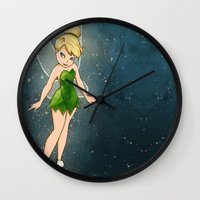 tinker bell Wall Clocks featuring Tinker Bell by Anais.Lalovi