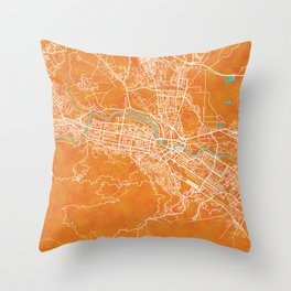 Skopje, North Macedonia, Gold, Blue, City, Map Throw Pillow