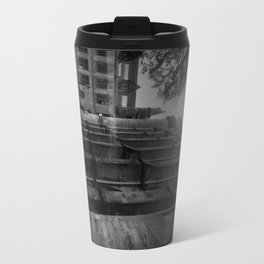 Lady Walking with Red Umbrella in the Rain at University of Glasgow. Travel Mug