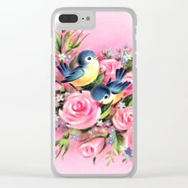Spring Birds & Roses Clear iPhone Case