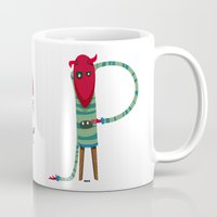 diablo Mugs featuring P Letter Diablo by Monfa