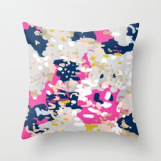 Michel - Abstract, girly, trendy art with pink, navy, blush, mustard for cell phones, dorm decor etc Throw Pillow