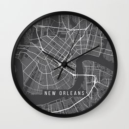 New Orleans, Map, USA - Gray Wall Clock