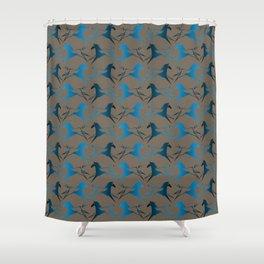 Blue Brown War Horse Shower Curtain