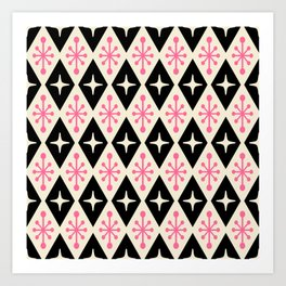 Mid Century Modern Atomic Triangle Pattern 113 Art Print