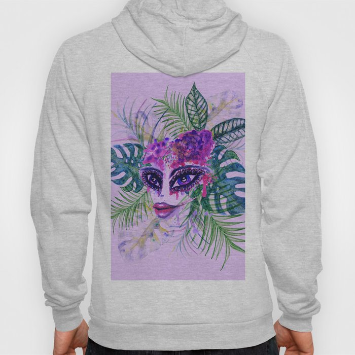 Purple Woman with Tropic leaves Hoody